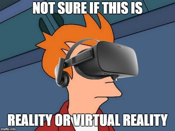 NOT SURE IF THIS IS; REALITY OR VIRTUAL REALITY