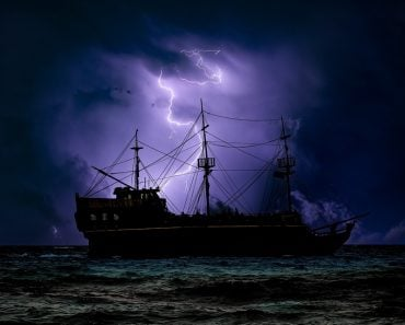 lightning storm ship sea ocean pirate