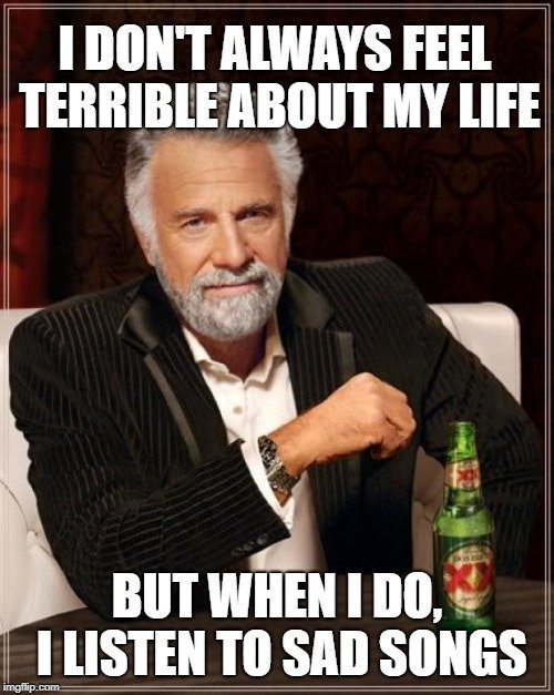 I DON'T ALWAYS FEEL TERRIBLE ABOUT MY LIFE; BUT WHEN I DO, I LISTEN TO SAD SONGS meme
