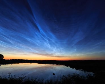 Noctilucent clouds over Uppsala, Sweden, nature, blue sky