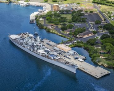 Aerial view of Missouri Battleship in Pearl Harbor, Honolulu, Hawaii, USA - Image(Ppictures)s