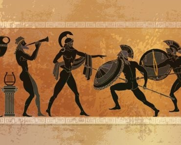 Ancient Greece scene. Black figure pottery. Ancient Greek mythology. Warriors Sparta people, gods - Vector(matrioshka)
