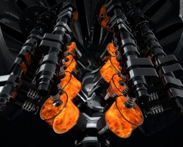 CG model of a working V8 engine with explosions and sparks inside of another machine. Pistons and other mechanical parts are in motion. - Illustration(yucelyilmaz)s