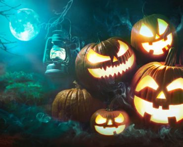 Halloween pumpkin head jack lantern with burning candles in scary deep night forest - Image( Alexander Raths)s