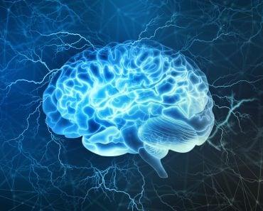 Human brain digital illustration. Electrical activity, flashes and lightning on a blue background. - Illustration( Yurchanka Siarhei)s