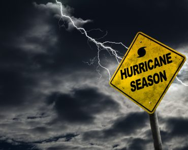 Hurricane season with symbol sign against a stormy background and copy space. Dirty and angled sign adds to the drama. - Image( Ronnie Chua)s