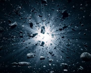 Rocks and debris flying through space after a huge big bang explosion 3D render Illustration (Johan Swanepoel)s