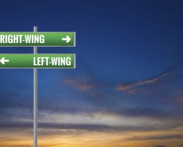 Graphic of a Left-wing and Right-wing Road Signs on Sunset Background - Illustration(Sampien)S