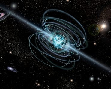 Magnetar neutron star with high magnetic field in a deep space. Artist's conception Illustration(orin)s