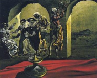Salvador Dali Slave Market with a Disappearing Bust of Voltaire Pareidolia Painting