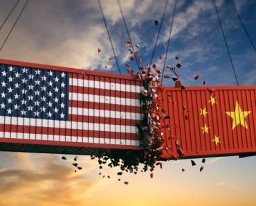 USA and China trade war. US of America and chinese flags crashed containers on sky at sunset background. 3d illustration - Illustration(rawf8)s