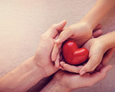 adult and child hands holding red heart, health care love, give, hope and family concept, world heart day(SewCream)s