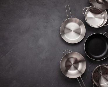 Set of kitchen metallic pans. Mockup, kitchen utensils, recipe book, cooking classes concept - Image(Netrun78)S