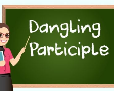 Dangling Participle, Female teacher in classroom teaching lesson pointing at greenboard and holding book - Vector