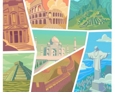 Seven wonders of the modern world vector illustration Great Wall of China Petra The Colosseum Chichen Itza Machu Picchu Taj Mahal Christ the Redeemer - Vector( Angelica Ermakova)s