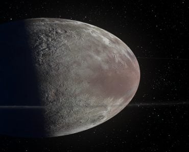 This image is a concept of the Haumea ellipsoidal dwarf planet with rings in the Kuiper belt( Diego Barucco)s