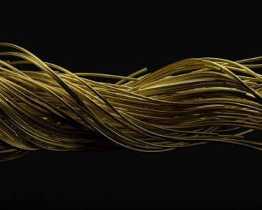 twisting golden wires. flowing metal rods on air. suitable for motion desing, metal, and abstract themes(kmls)s