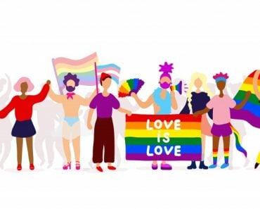 Gay parade. Interracial group of gay, lesbian, transgender activists participating in lgbtq pride(Innart)s
