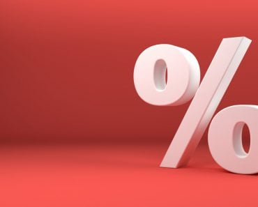 Percentage icon 3D white on red background 3d illustration(SimonBrun)S
