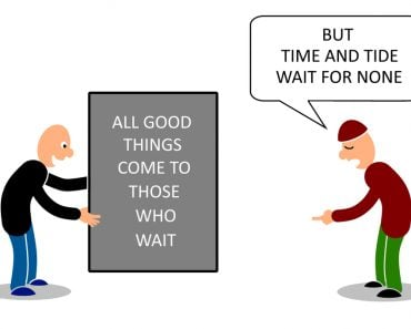Two man talking on two contradict proverbs on time(mypokcik)s