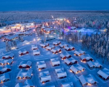 Aerial night view of Santa Claus Village in Rovaniemi in Lapland in Finland(Smelov)s