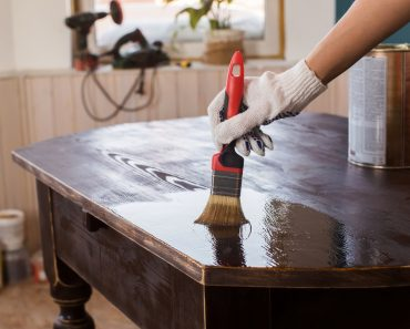 Covering varnish of old wooden table. Restoration of furniture(E_serebryakova)s