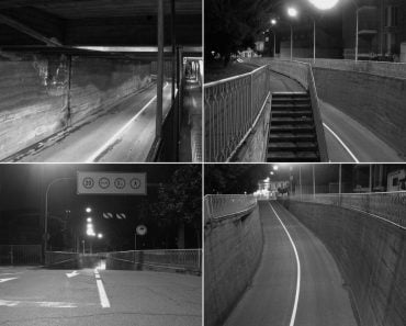CCTV surveillance camera of a subway underpass in black and white(Claudio Divizia)S