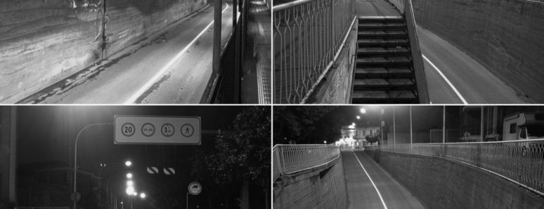 CCTV surveillance camera of a subway underpass in black and white(Claudio Divizia)S
