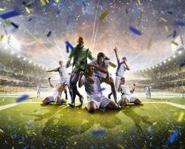 Collage adult soccer players in action on stadium panorama(Eugene Onischenko)s