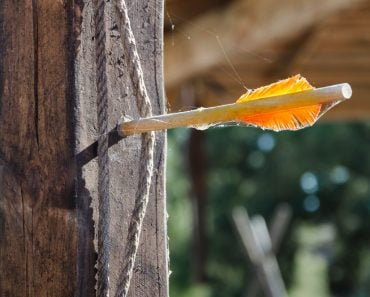 one arrow with yellow feathers stuck in a wooden fence(sobolicha11)s