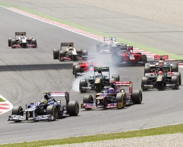 Some cars racing at the race of Formula One Spanish Grand Prix at Catalunya circuit(Natursports)s
