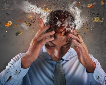 Head explosion of a stressed and tired businessman due to overwork(alphaspirit)S