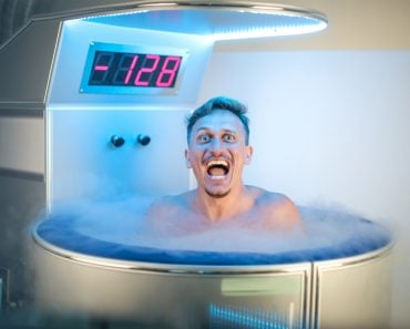 Man having a cryotherapy session in a medical centre(Merla)s