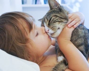 Child is kissing a cat(Alena Haurylik)s