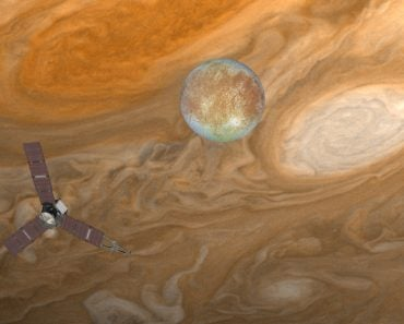 Juno spacecraft with jupiter on the foreground Jupiter's Satellite Europa(muratart)S