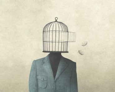 illustration of man with open birdcage over his head, surreal freedom concept(fran_kie)s