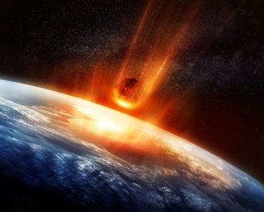 A large Meteor burning and glowing as it hits the earth's atmosphere(solarseven)S