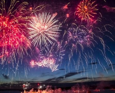 colorful fireworks on the black sky background over-water(YORIK)S
