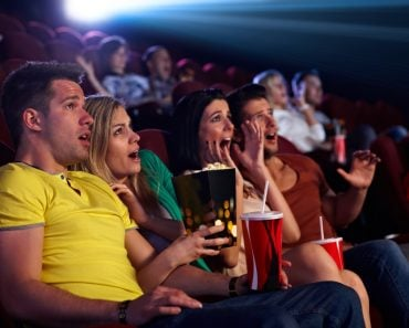 Audience,Sitting,In,Multiplex,Movie,Theater,,Watching,Horror,Movie,,Screaming.