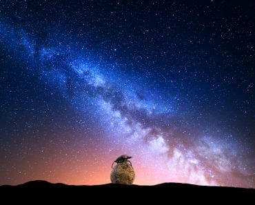 Night,Landscape,With,Colorful,Milky,Way,And,Yellow,Light,At