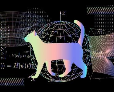 Illustration of Erwin Schroedinger's (or Schroedinger) thought experiment, where the cat is both alive and dead due to interpretations of quantum mechanics and state known as a quantum superposition.