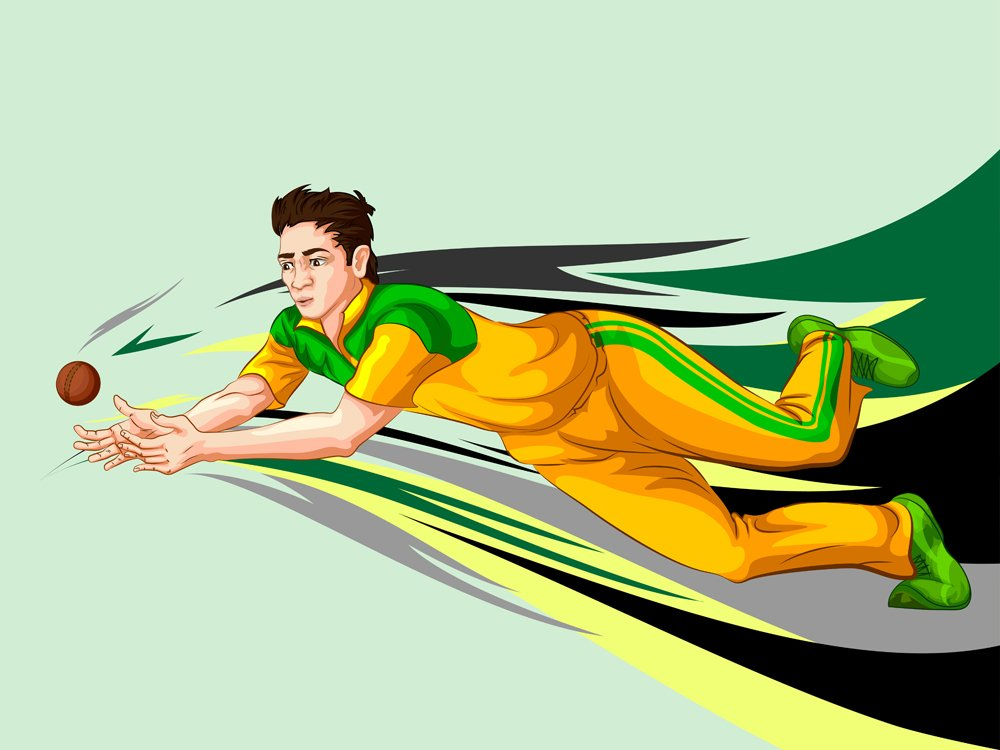 Concept of sportsman playing Cricket match sport(Vecton)S