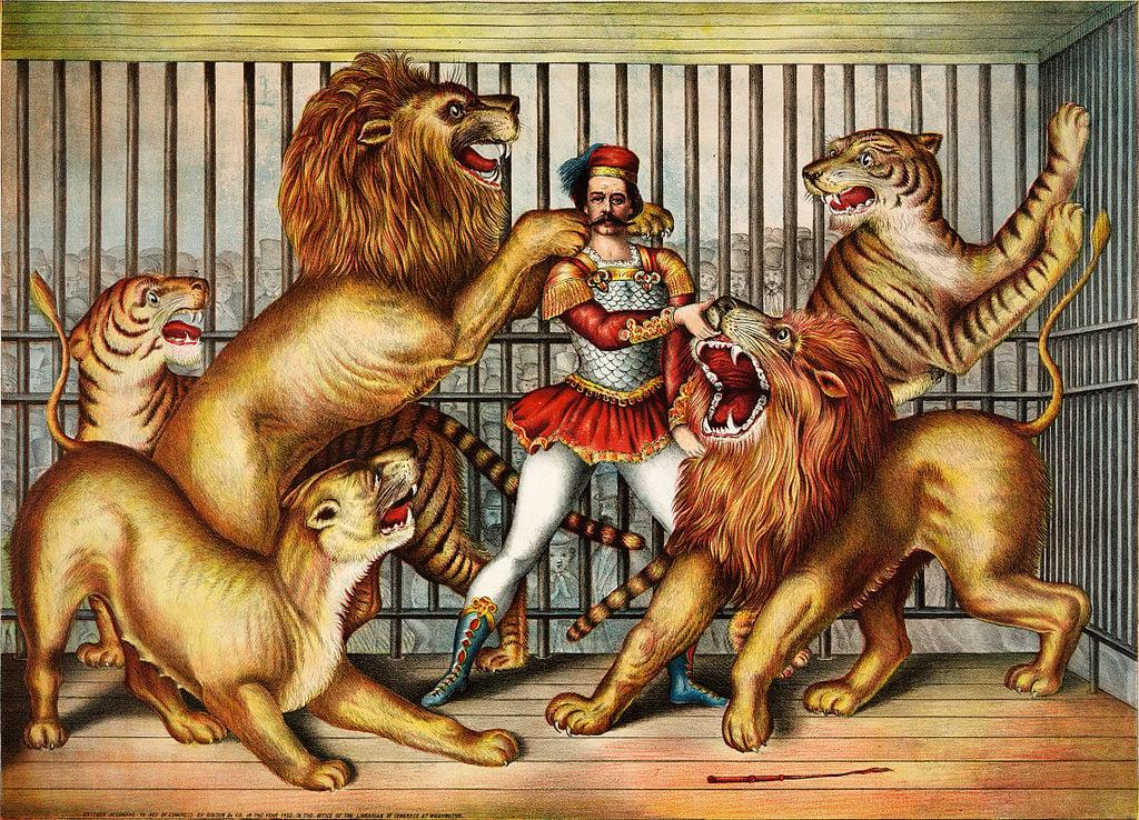 Grabado del siglo XIX de leones y tigres en cautividad con un cuidador