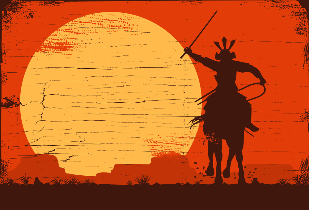 Silhouette of samurai riding horse at sunset(Seita)s