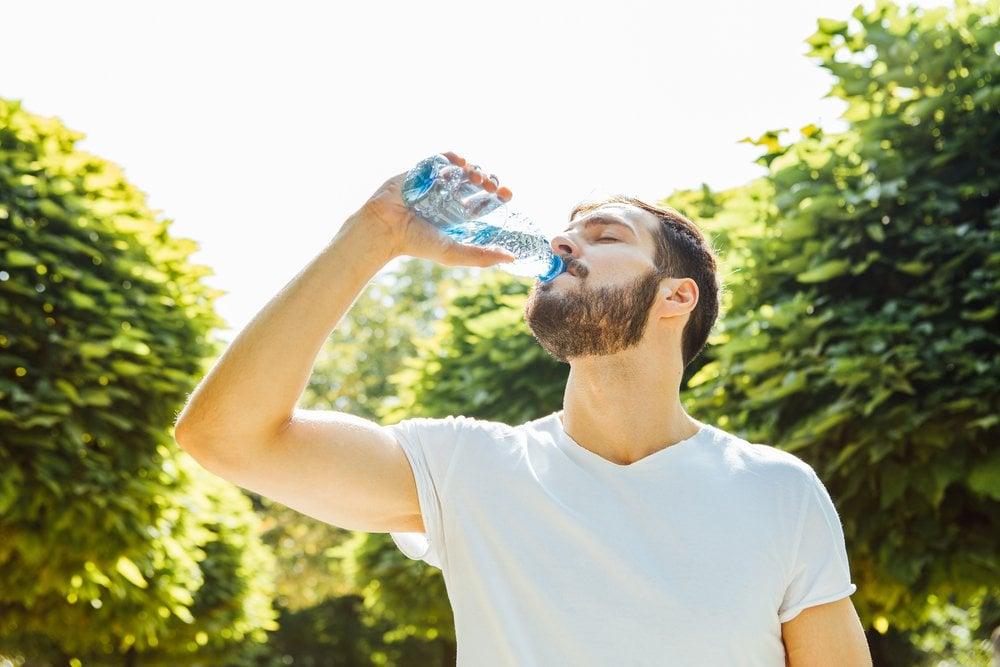 Drinking Water from Bottle