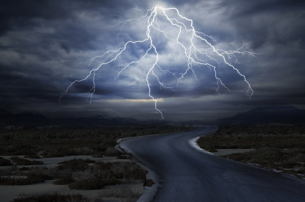 Thunderstorm on Road