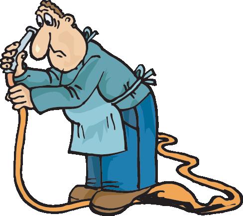 standing on hose
