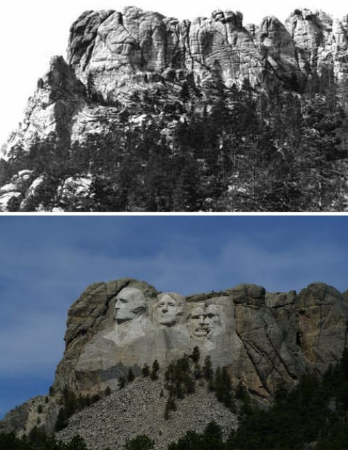 Before and after of Mount Rushmore