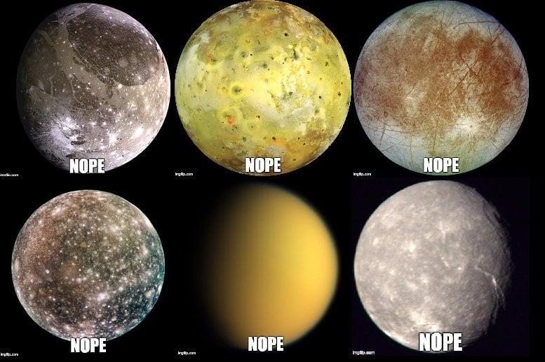 From left to right, top to bottom: Ganymede, Io, Europa, Callisto, Titan, Titania