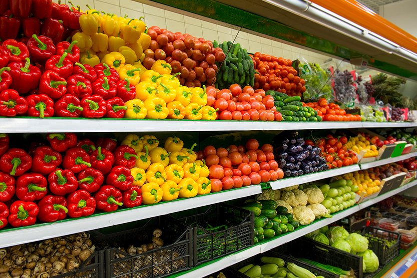 Fresh organic Vegetables and fruits on shelf in supermarket(Irina Sokolovskaya)s